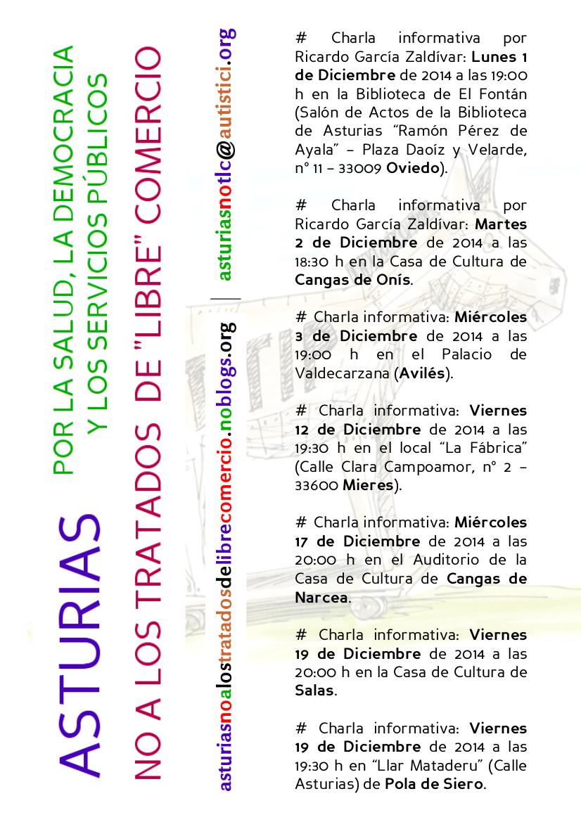 Cartel de las charlas de diciembre de 2014