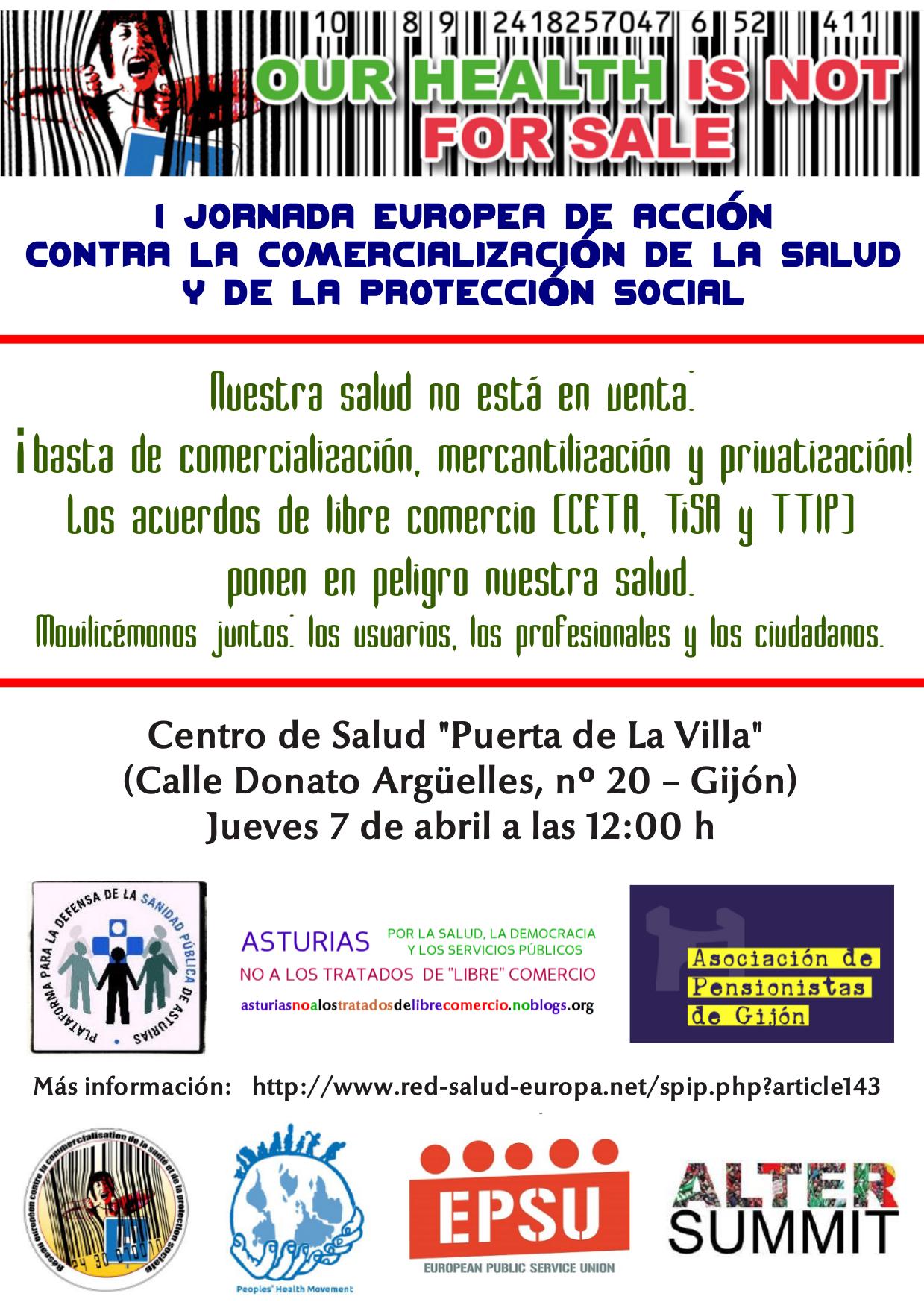 1ª Jornada Europea De Acción Contra La Comercialización De La Salud Y De La Protección Social
